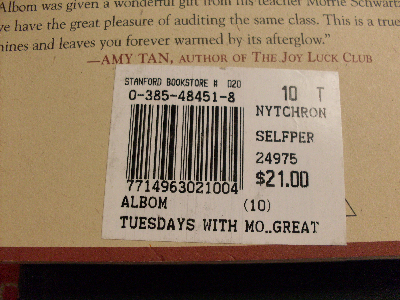 Book with bar code sticker
